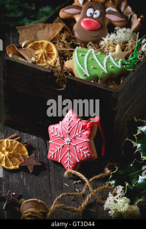 Christmas Handmade patterned gingerbreads - Stock Photo