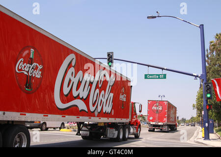 Coca-Cola trucks, Coke trucks, on the road, Los Angeles, delivery, convoy - Stock Photo