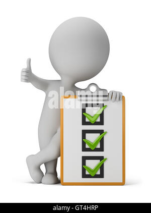 3d small people with a checklist - Stock Photo