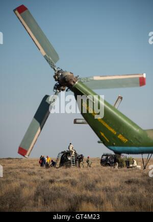 Russian support personnel work around the Soyuz TMA-20M spacecraft after landing with International Space Station - Stock Photo