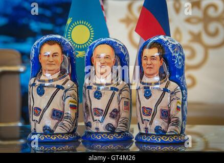 Matryoshka Dolls representing International Space Station Expedition 48 crew Russian cosmonaut Alexey Ovchinin of - Stock Photo