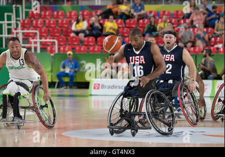 Rio de Janeiro, Brazil. 8th September, 2016. Trevon Jenifer (16) of the USA drives the ball down court during action - Stock Photo
