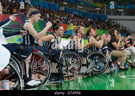 Rio de Janeiro, Brazil. 8th September, 2016. The USA women's basketball team cheers against France on the first - Stock Photo