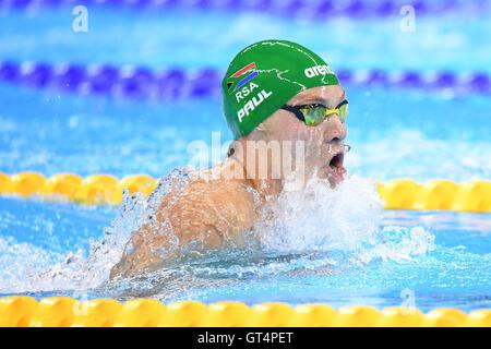 Rio de Janeiro, Brazil. 8th Sep, 2016. Kevin Paul (RSA) Swimming : Men's 100m Breaststroke SB9 Final at Olympic - Stock Photo