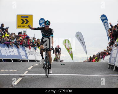 Haytor Dartmoor, UK. 9th Sep, 2016. Finish of Sidmouth to Haytor stage of the Tour of Britain Wouter Poels Team - Stock Photo