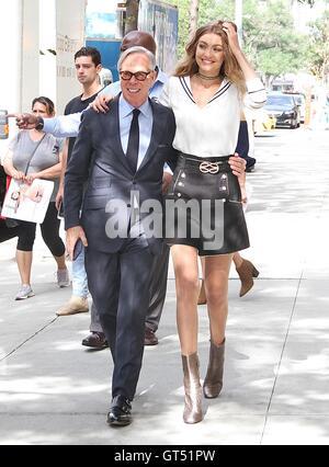 New York City, USA. 9th September, 2016.   Gigi Hadid and Tommy Hilfiger seenin New York, New York on September - Stock Photo