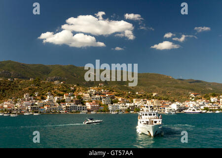 The town of Galatas, as seen from Poros island, Greece. The strait between Galatas and the island is about 2 minutes - Stock Photo