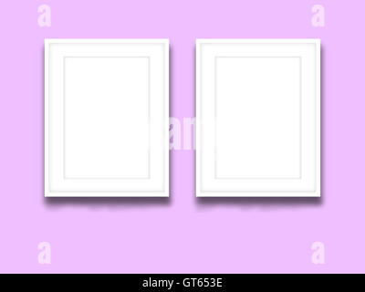 Close-up of two blank picture frames on lilac background - Stock Photo