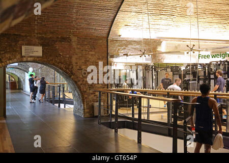 The interior of the Nuffield Fitness Centre located in Victorian railway arches beneath London's Cannon Street Station - Stock Photo