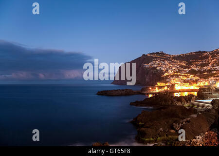 Cabo Girao cliff ocean view, Camara de Lobos town near Funchal, Madeira island, Portugal - Stock Photo