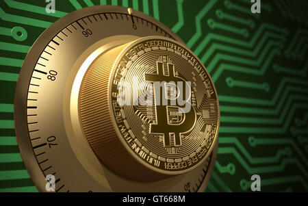 Concept Of Bitcoin Like A Electronic Safe Lock. 3D Illustration. - Stock Photo