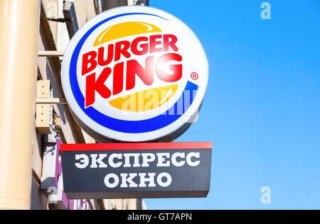 Burger King fastfood restuarant sign. Burger King is an American global chain of hamburger fast food restaurants - Stock Photo