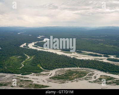 Aerial view of the meeting of the Susitna River (above) and Chulitna River near Talkeetna, Alaska. - Stock Photo