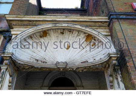 Large baroque shell door pediment, Salisbury, Wiltshire, England UK - Stock Photo
