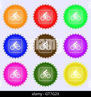 Cyclist icon sign. Big set of colorful, diverse, high-quality buttons. Vector - Stock Photo