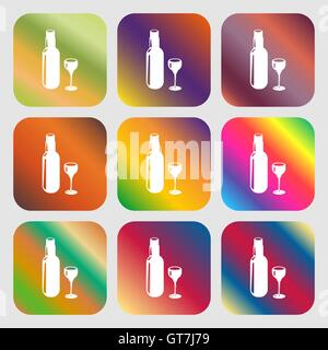 Bottle of wine and glass sign icon - Stock Photo