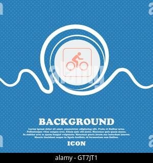 Cyclist sign. Blue and white abstract background flecked with space for text and your design. Vector - Stock Photo
