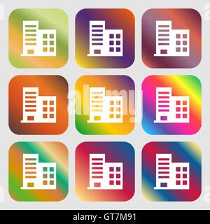 high-rise commercial buildings and residential apartments icon. Nine buttons with bright gradients for beautiful - Stock Photo