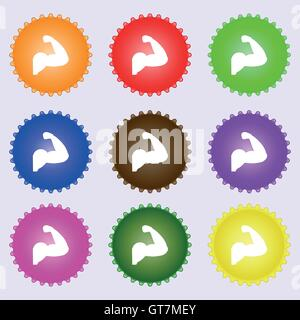 Biceps strong arm. Muscle icon sign. Big set of colorful, diverse, high-quality buttons. Vector - Stock Photo