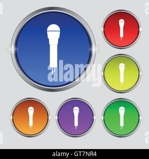 Microphone Icon sign. Round symbol on bright colourful buttons. Vector - Stock Photo