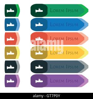 submarine icon sign. Set of colorful, bright long buttons with additional small modules. Flat design - Stock Photo