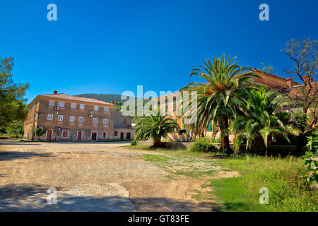Island of Vis old village view, Dalmatia, Croatia - Stock Photo
