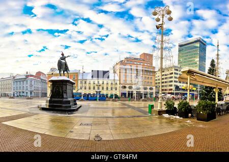 Ban Jelacic square in Zagreb, capital of Croatia - Stock Photo