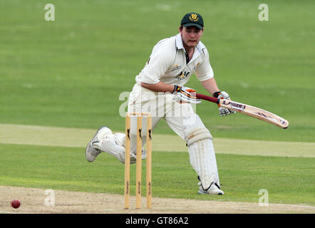Richard Brabner of Harold Wood has a close shave as he narrowly avoids being run out - Harold Wood CC vs Walthamstow - Stock Photo