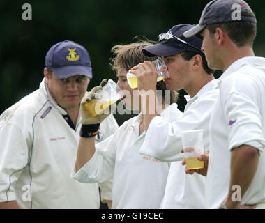 Upminster players take on refreshment - Wanstead CC vs Upminster CC - Evening Standard Trophy - 22/07/07 - Stock Photo