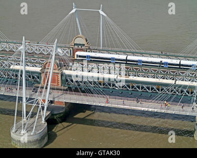 Aerial view of trains on a bridge - Stock Photo