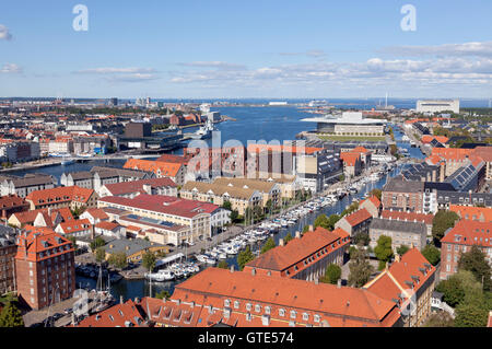 Aerial view of Christianshavn Canal and historic streets, inner harbour, the Royal Opera House and the Royal Playhouse - Stock Photo