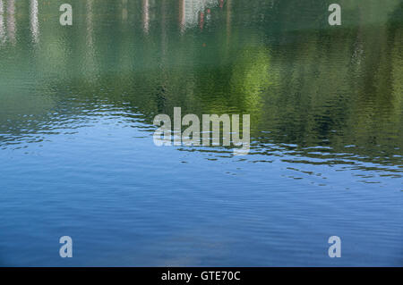 Shot of lake scenic in summer. Blurred nature unfocused background. - Stock Photo