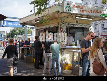 Mustafa's Gemüse Kebap on Mehringdamm, Kreuzberg, Berlin, Germany - Stock Photo