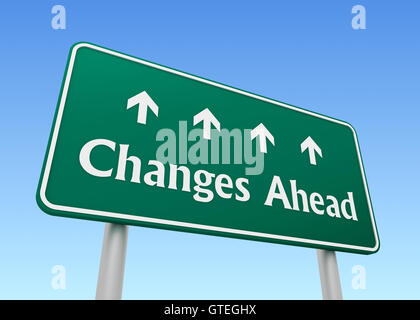 changes ahead road sign concept       3d illustration - Stock Photo