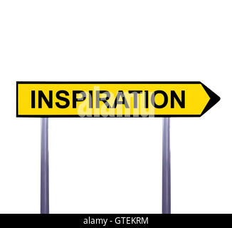 Conceptual arrow sign isolated on white - INSPIRATION - Stock Photo
