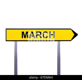 Conceptual arrow sign isolated on white - MARCH - Stock Photo