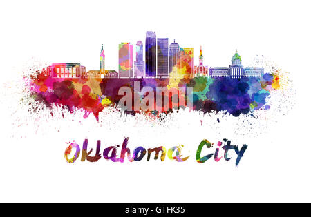 Oklahoma City skyline in watercolor splatters with clipping path - Stock Photo
