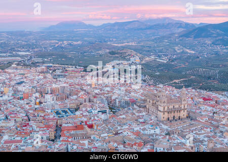 aerial view of Assumption of the virgin Cathedral with sunset at background in Jaen, Andalusia, Spain - Stock Photo