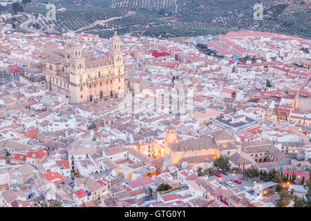 Aerial view of assumption of the virgin cathedral in Jaen, Andalusia, Spain - Stock Photo