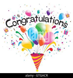 congratulations, confetti, background, vector, celebration, balloons, illustration, colorful, design, anniversary, - Stock Photo