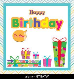 birthday, happy, card, vector, design, background, decoration, greeting, celebration, ribbon, gift, illustration, - Stock Photo