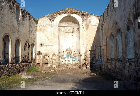 Old church ruins with no roof - Stock Photo