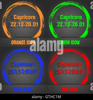Capricorn icon. Fashionable modern style. In the orange, green, blue, red design. Vector - Stock Photo