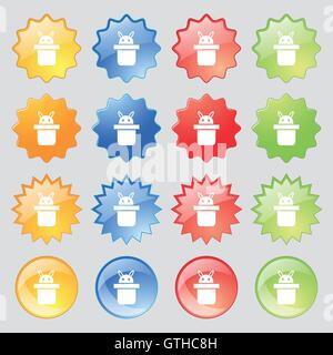 Magician hat. Rabbit ears icon sign. Big set of 16 colorful modern buttons for your design. Vector - Stock Photo