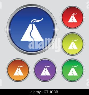 active erupting volcano icon sign. Round symbol on bright colourful buttons. Vector - Stock Photo