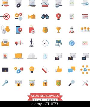 Collection of 49 flat design SEO and Web Services icons - Stock Photo