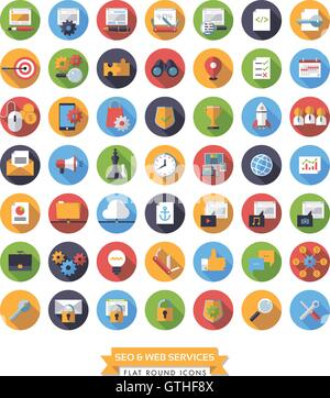 Collection of 49 flat design long shadow SEO and Web Services round icons - Stock Photo