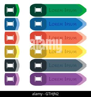 Ancient parchment sheet of paper sign. Set of colorful, bright long buttons with additional small modules. Flat - Stock Photo