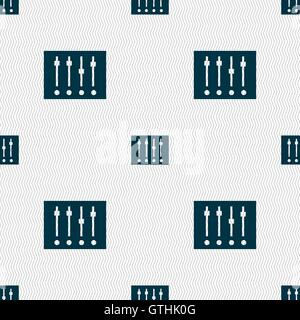 Equalizer icon sign. Seamless pattern with geometric texture. Vector - Stock Photo