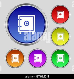 Safe money icon sign. Round symbol on bright colourful buttons. Vector - Stock Photo